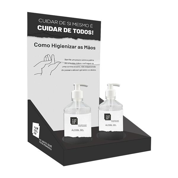 Display de Mesa c/ Suporte -  Acompanha 2 Tubos de Álcool Gel (440g)