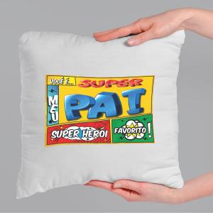 Almofada Personalizada  - Super Pai - Quadrinhos Tecido microfibra 100% poliéster 40x40 cm    com enchimento