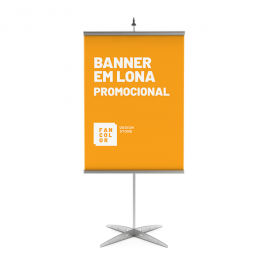 Banner em Lona Promocional Lona Fosca 280 gr  4x0  Bastão, ponteira e corda.
