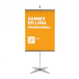 Banner Promocional Tamanho Personalizado Lona 280g  4x0 Brilho Bastão, ponteira e corda