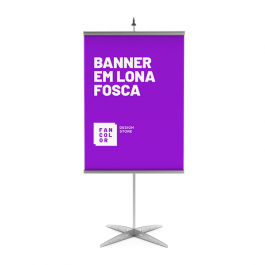 Banner Tamanho Personalizado Lona 440g  4x0 Fosca Bastão, ponteira e corda