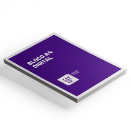 Bloco A4 - Digital 4x0 cores Offset 90g 21x29,7 cm 4x0  Corte Reto, Blocagem 50 folhas