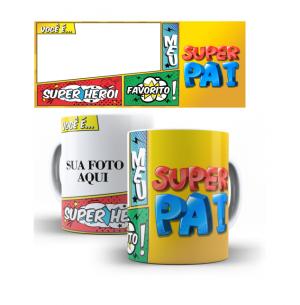 Caneca Super Pai - Quadrinhos Porcelana 8 x 9,5 cm