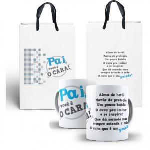 Caneca Pai Você é Cara +  Sacola Personalizada Porcelana + Sacola de Papel 8 x 9,5 cm