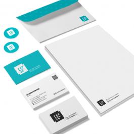 Combo 1 Cartões executivos + Etiquetas em papel adesivo + Pasta com bolsa + Folhas timbradas    Conforme a especificação de cada item do combo.