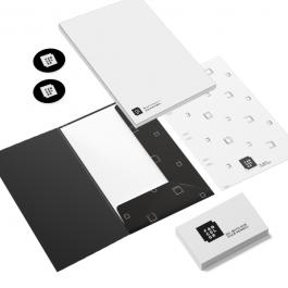 Combo 2 Cartões executivos + Etiquetas em papel adesivo + Banner + Blocos    Conforme a especificação de cada item do combo.