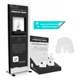Combo Standard III Display Mesa 1 Alcool + Totem c/ Pedal + Adesivo Distância + Protetor Facial