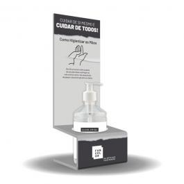 Display de Mesa c/ Suporte -  Acompanha 1 Tubo de Álcool Gel  12cm x 30cm