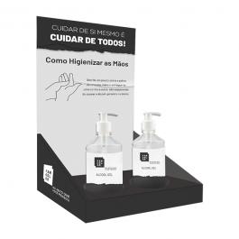 Display de Mesa c/ Suporte -  Acompanha 2 Tubos de Álcool Gel (440g)  20cm x 35cm