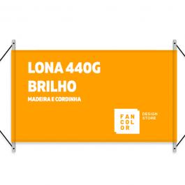 Faixa Lona 440g  4x0 Brilho Madeira e cordinha