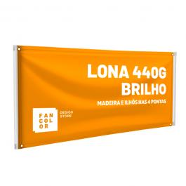 Faixa Lona 440g  4x0 Brilho Madeira e Ilhós nas 4 pontas