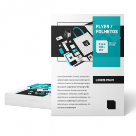 Flyers / Folhetos - Digital 4x4 cores Couchê 170g 21x29,7cm 4x4  Corte Reto