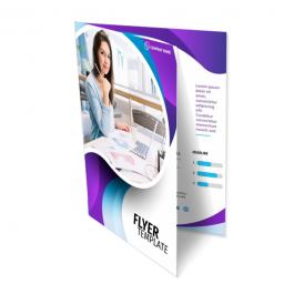 Folders 1 Dobra A3 - Digital 4x4 cores Papel Couchê 250g 42x29,7cm aberto - 21x29,7cm fechado 4x4 cores Laminação Bopp Fosca Corte Reto