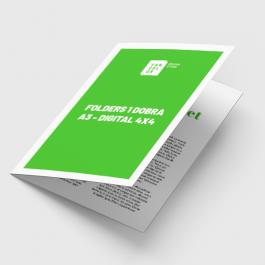Folders 1 Dobra A4 - Digital 4x4 cores Papel Couchê 170g 21x29,7 cm aberto - 21x14,8 cm fechado 4x4 cores Laminação Bopp Fosca Corte Reto