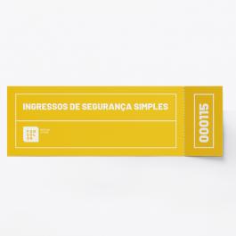 Ingressos de Segurança Simples - 4x0 cores folha 21x30 cm contendo 8 ingressos 15x5,5cm 4x0 cores   Numeração