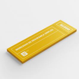 Ingressos de Segurança Simples - 4x4 cores folha 21x30 cm contendo 8 ingressos 15x5,5cm 4x4 cores   Numeração
