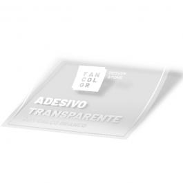 Adesivo Transparente com Calço Branco Impressão Digital Adesivo Transparente  4x0 Fosco ou Brilho  Larguras Máximas sem emenda em cm: 107,127,137,152 - Comprimento máximo 50 metros.