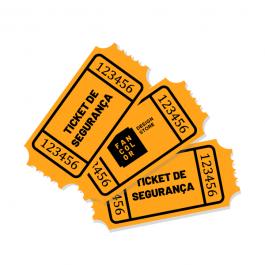 Ticket de Segurança - 4x0 cores folha 21x30 cm contendo 40 ticket 4,3X3,8 CM 4x0 cores   Numeração